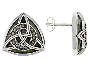 Connemara Marble And Marcasite Silver Trinity Knot Earrings