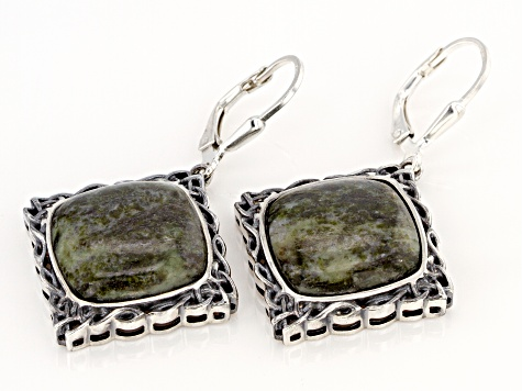 Connemara Marble Sterling Silver Celtic Earrings.