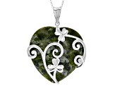 Connemara Marble Sterling Silver Heart Vine Pendant With Chain