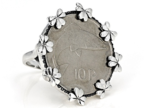 10 Pence Coin Sterling Silver Ring
