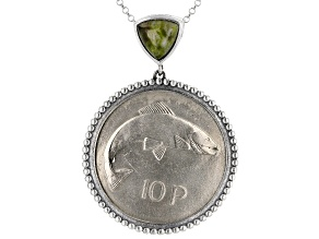 Connemara Marble 10 Pence Coin Sterling Silver Pendant With Chain