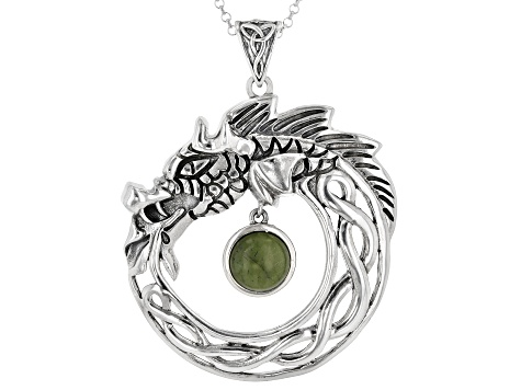 Connemara Marble Sterling Silver Viking Dragon Pendant With Chain