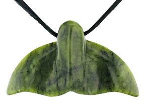 Connemara Marble Whale Tail Pendant With Cord