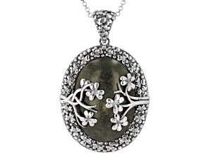 Connemara Marble Silver Shamrock Vine Pendant With Chain
