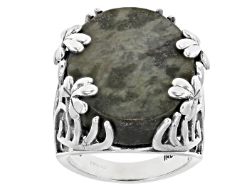 Picture of Connemara Marble Sterling Silver Shamrock Vine Ring