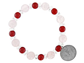 Rose Quartz, 6 Pence Coin Silver Stretch Bracelet