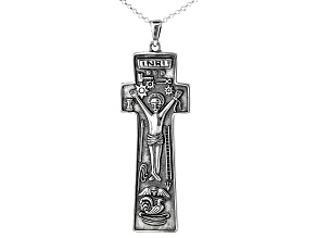 Sterling Silver Penal Cross Pendant W/ Chain