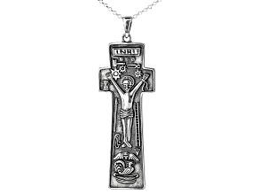Sterling Silver Penal Cross Pendant W/ Chain