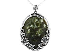 Connemara Marble Silver Floral Pendant W/ Chain