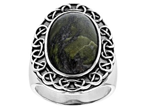 Connemara Marble Silver Celtic Ring