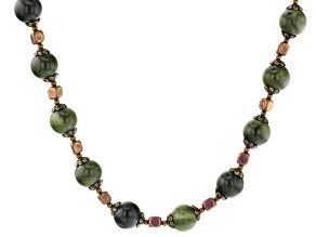 Connemara Marble Bead Gold Tone Necklace
