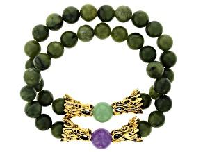 Connemara Marble Gold Tone Bracelet Set
