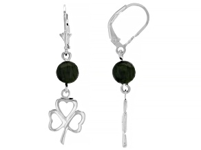 Connemara Marble Shamrock Sterling Silver Dangle Earrings