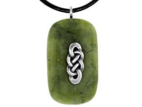 Connemara Marble with Celtic Silver Overlay Pendant With Leather Chain