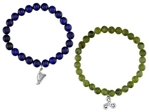 Connemara Marble and Lapis Harp And Trinity Swirl Charm Bracelet Set