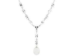 White Topaz with Cultured Freshwater Pearl Silver Necklace 2.26ctw