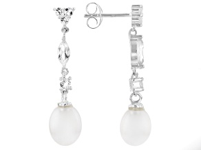 White Topaz with Fresh Water Pearl Sterling Silver Earrings 1.16ctw