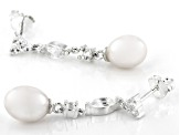 White Topaz with Cultured Freshwater Pearl Sterling Silver Earrings 1.16ctw
