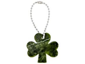 Shamrock Connemara Marble Silver Tone  Key Chain