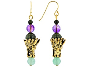 Connemara Marble Dragon Gold Tone Earrings