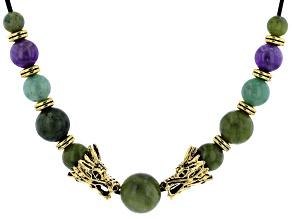 Connemara Marble Dragon Gold Tone Cord Necklace
