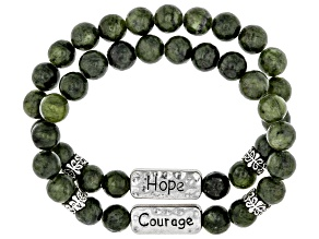 "Set of 2 Silver Tone Marble ""Hope"" & ""Courage""  Stretch bracelets"