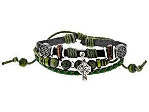 Green Connemara Marble Leather Bracelet