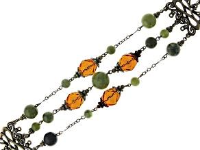 Connemara Marble & Glass Bead Gold-Tone Over Brass Castletown Bracelet