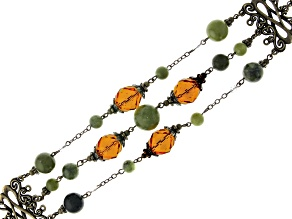 Connemara Marble & Glass Bead Gold-Tone Brass Castletown Bracelet