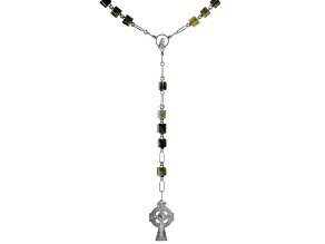 Connemara Marble Silver-Tone Over Brass Rosary