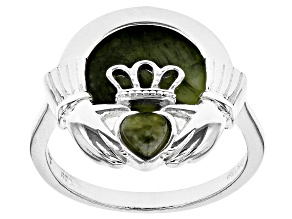 Connemara Marble Silver-Tone Over Brass Claddagh Ring