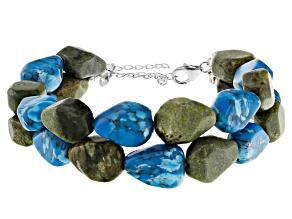 Connemara Marble & Magnesite Sterling Silver 2 Strand Bead Bracelet