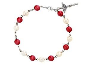 Glass Silver-Tone Over Brass Christmas Bracelet