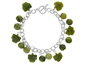 Connemara Marble Silver-Tone Over Brass Bracelet