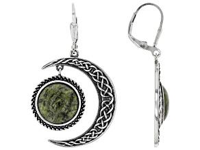 Connemara Marble Silver Sun &  Moon Dangle Earrings
