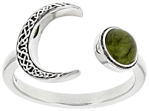 Connemara Marble  Silver Sun & Moon Ring