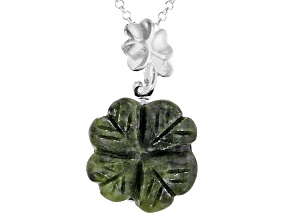 """Connemara Marble Silver Carved 4 Leaf Clover Pendant W/ 24"""" Chain"""