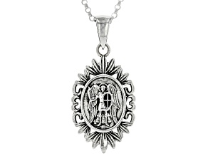 "Sterling Silver St. Michael Protect Us Pendant W/ 24"" chain"