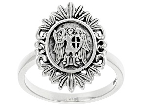 Sterling Silver St. Michael Protect Us Ring