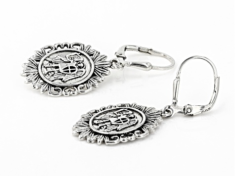 Sterling Silver St. Michael Protect Us Earrings