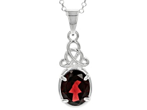 "Garnet Sterling Silver Celtic Pendant  With 24"" Chain 2.50ct"