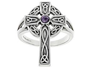 Charoite Sterling Silver Celtic Cross Ring