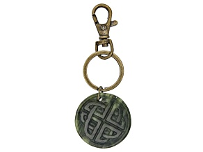 Carved Connemara Marble Antiqued Gold Tone Keychain