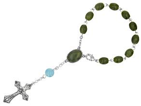 Connemara Marble & Aquamarine Silver Tone Rosary Bracelet