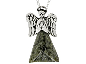 "Connemara Marble Silver Angel Pendant With 24"" Chain"
