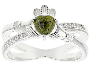 Connemara Marble With White Topaz Sterling Silver Claddagh Ring 0.009ctw