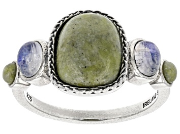 Picture of Connemara Marble & Rainbow Moonstone Silver Ring