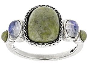 Connemara Marble & Rainbow Moonstone Silver Ring