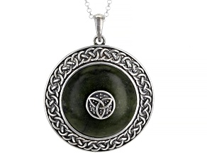"""Marble Celtic Viking Shield Sterling Silver Pendant With 24""""Chain"""