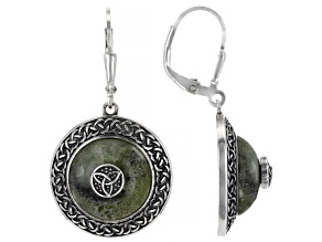 Marble Celtic Viking Shield Sterling Silver Earrings